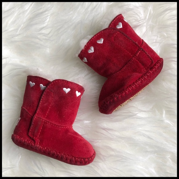 f3762166f97 UGG Baby Girls 0/1 Cassie I Heart Ugg Red Booties